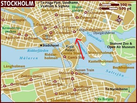 carte Stockholm bateaux